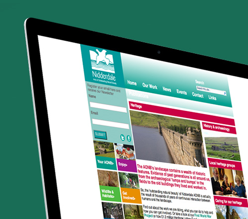 Nidderdale website homepage zoomed in on mac