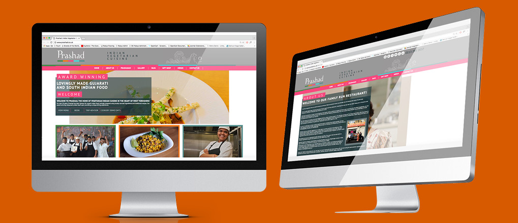 Prashad rebranded website displayed on imac