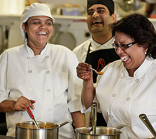 Founder of Prashad Kaushy Patel with Head Chef Minal Patel