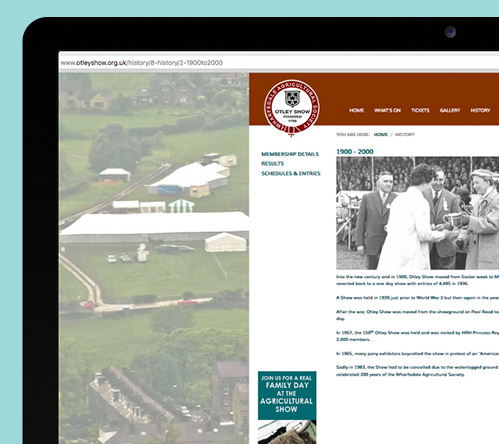 Otley Show new website history page displayed on mac