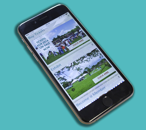 Otley Show new website displayed on iphone