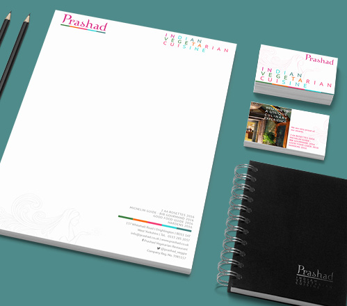 Updated stationary set for Prashad after the rebrand